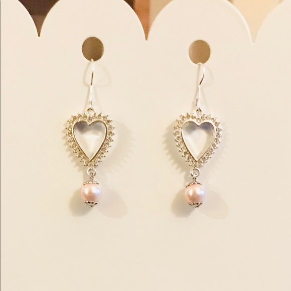 Jewelry - Silver & Crystal Heart Earrings With Bead Accent